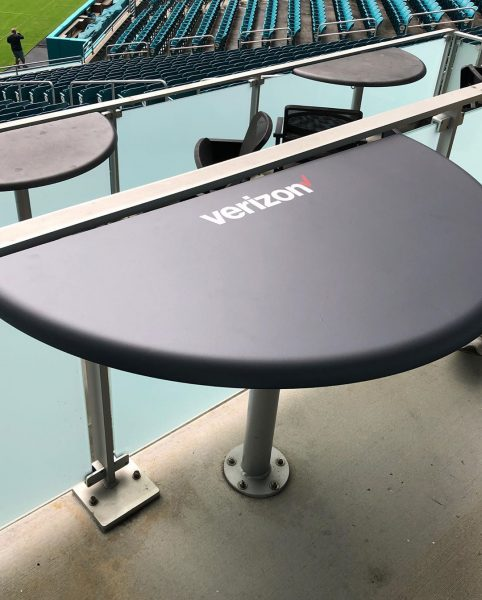 Get Your Tables Wrapped... Vinyl WRAP Transformations. from crusty and rusty tables to sleek and clean tables. UHealth and Verizon branded Table wraps for the stadium to welcome the new football season @forma.mia . South Florida - Miami - Broward County - Sign and Wrap Specialists. (954) 908-5883 :: info@darkhorsemiami.com