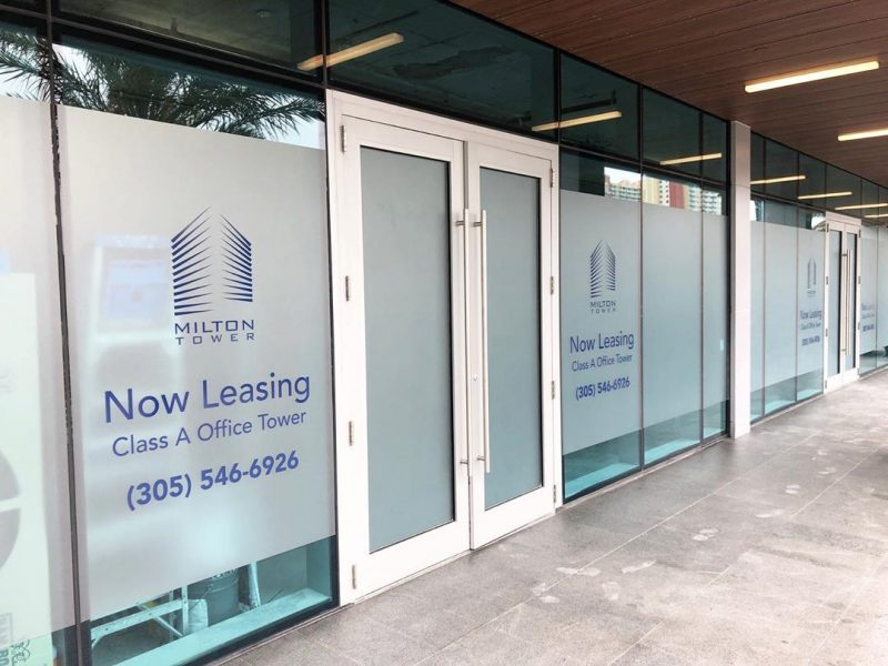 Frosted Window Vinyl is great elegant look for the outside of your business or interior conference rooms. Pictured here is Clean frost window job for Milton Towers @miltontower_ . Frost is great for construction sites, restaurants, salons, and anywhere to give an elegant look to a building. Miami South Florida Masters for Signs – Vinyl Wraps – Lettering – Give Us A Call (954) 908-5883 :: info@darkhorsemiami.com. #frost #window #windowtreatments #windowtint #etchedglass #etchedwithvinyl #vinylwrap #vinylwrapping #wrap #wraps #boatwraps #vehiclewraps #carwraps #windowwraps #business #supportsmallbusiness #supportlocal #coronavirus #frosted #milton #branding #graphicdesigner #graphicdesign #artmiami #miami #travel #largeformatprinting #aventura #miamilife #lifestyle